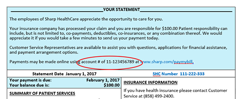 Find your Sharp hospital account number