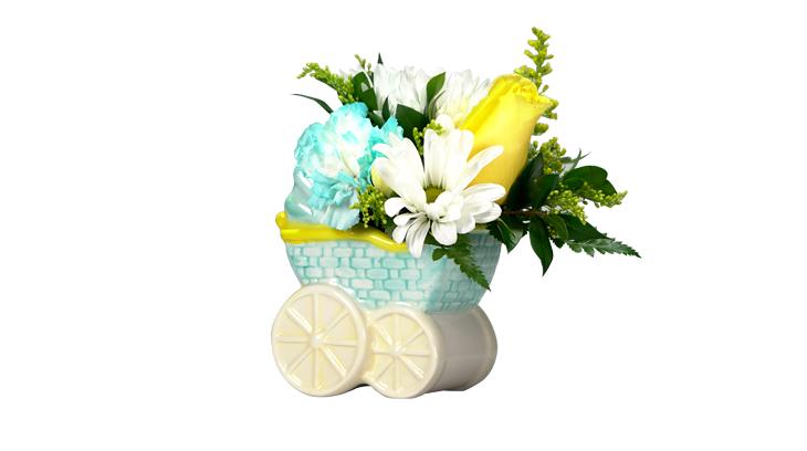 Baby boy flower arrangement