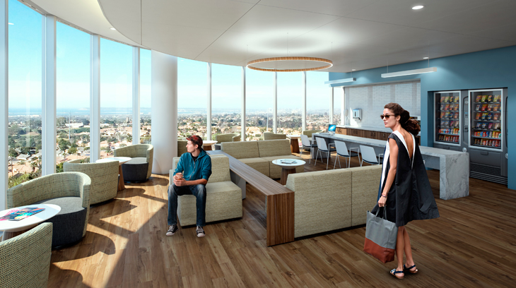 Areas for loved ones to wait will feature comfortable seating and expansive views