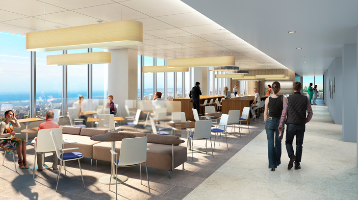 The indoor/outdoor rooftop café and dining area features panoramic ocean views.