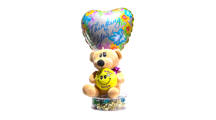Get well bear with balloon and candy