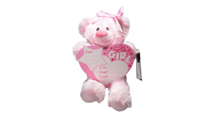 Girl birth announcement bear