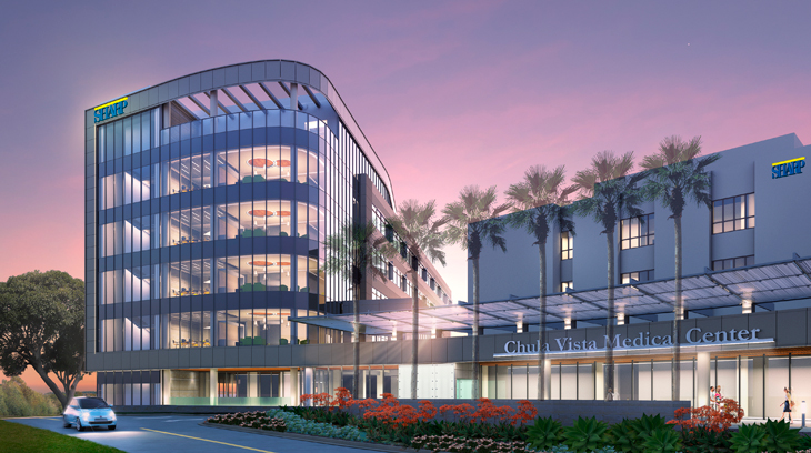 A dusk-time view of the main entrance at the new hospital at Sharp Chula Vista