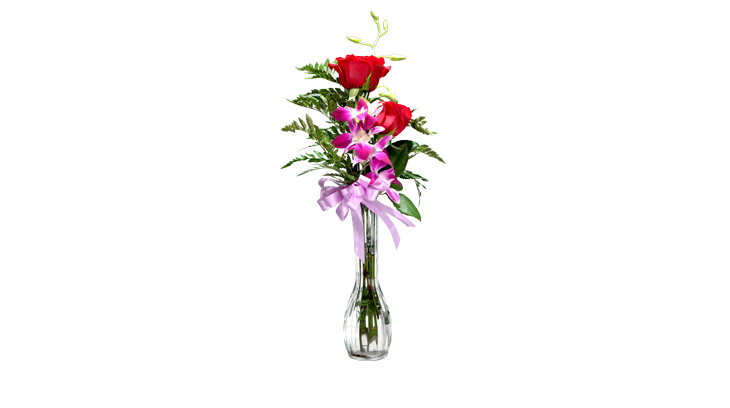 Rose and orchid arrangement
