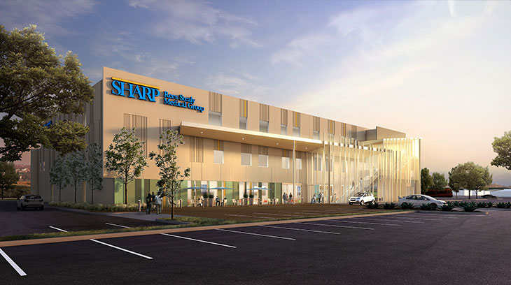 A rendering of the exterior of the new Sharp Rees-Stealy Santee Medical Center.