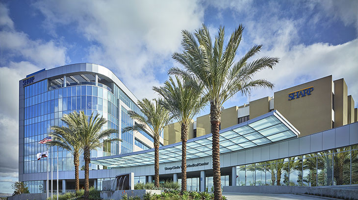Sharp Chula Vista Medical Center's main hospital entrance