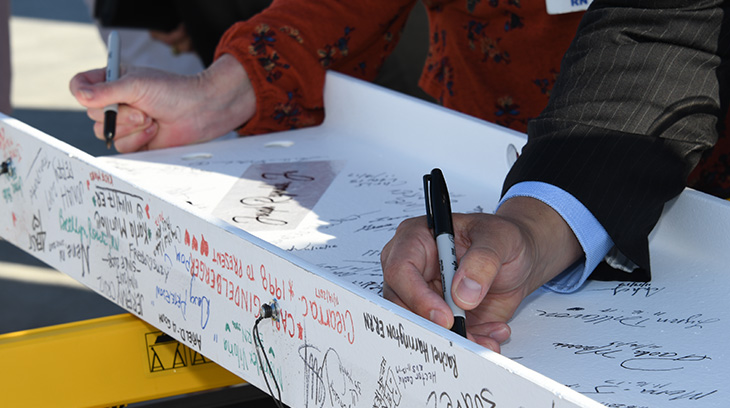 Signing the final beam at Sharp Chula Vista's topping out ceremony on Nov. 16, 2017.