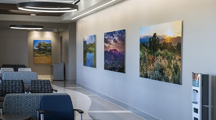Photography by Aaron Chang adorns the walls at Sharp Rees-Stealy Santee. Photo credit: Aaron Chang / AaronChang.com