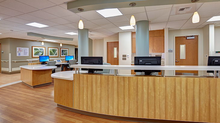 Nurses' station, Sharp Allison deRose Rehabilitation Center
