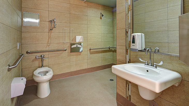 Private adapted bathrooms and showers in most patient rooms.