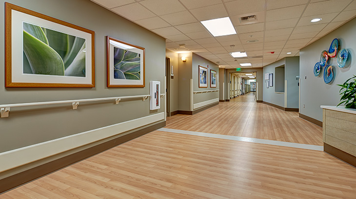 Entrance from nurses' station, Sharp Allison deRose Rehabilitation Center
