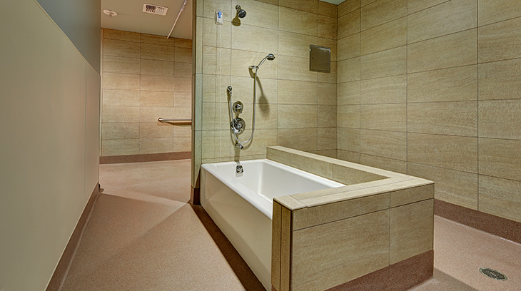 Shower and tub, Sharp Allison deRose Rehabilitation Center