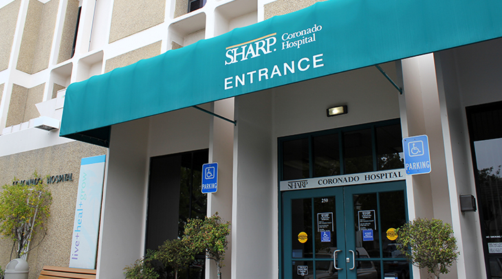 Main entrance of Sharp Coronado Hospital