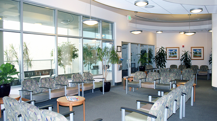 West tower guest lounge at Sharp Grossmont Hospital